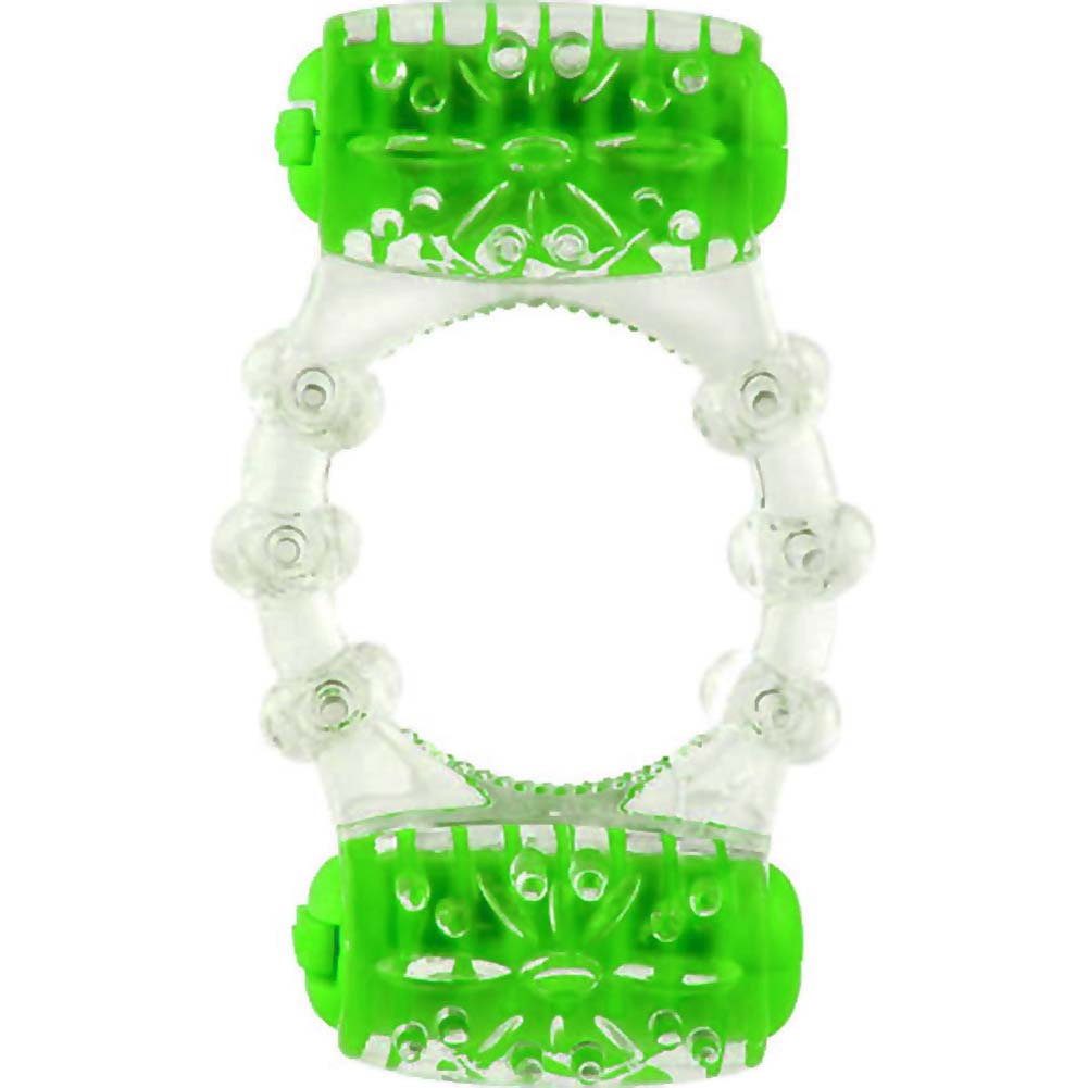 Screaming O ColorPoP Quickie Two-O Double Pleasure Vibrating Ring Green - View #2