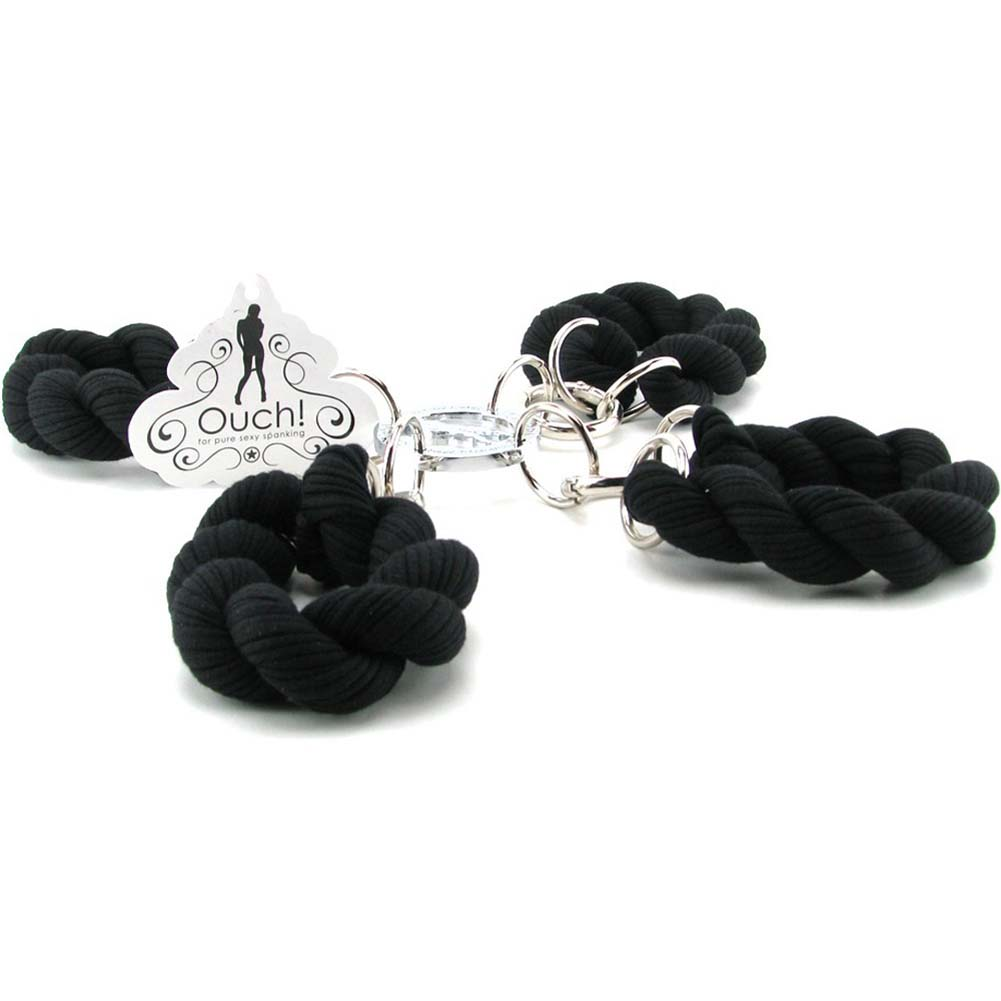 Ouch Hand and Leg Braided Rope Cuffs Black - View #2