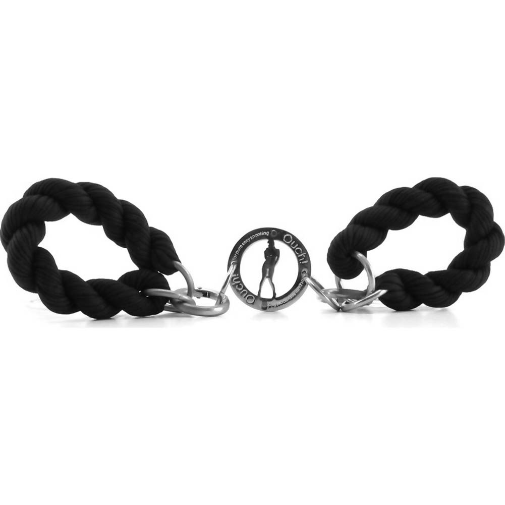Ouch Soft Braided Hand Cuffs Black - View #2