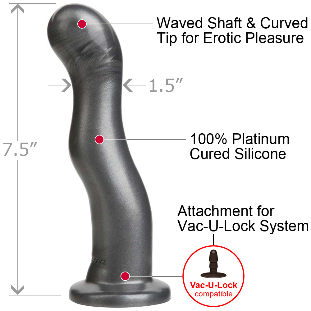 "Vac-U-Lock Platinum Silicone The WAVE Curved G-Spot Attachment 7.5"" Charcoal - View #1"