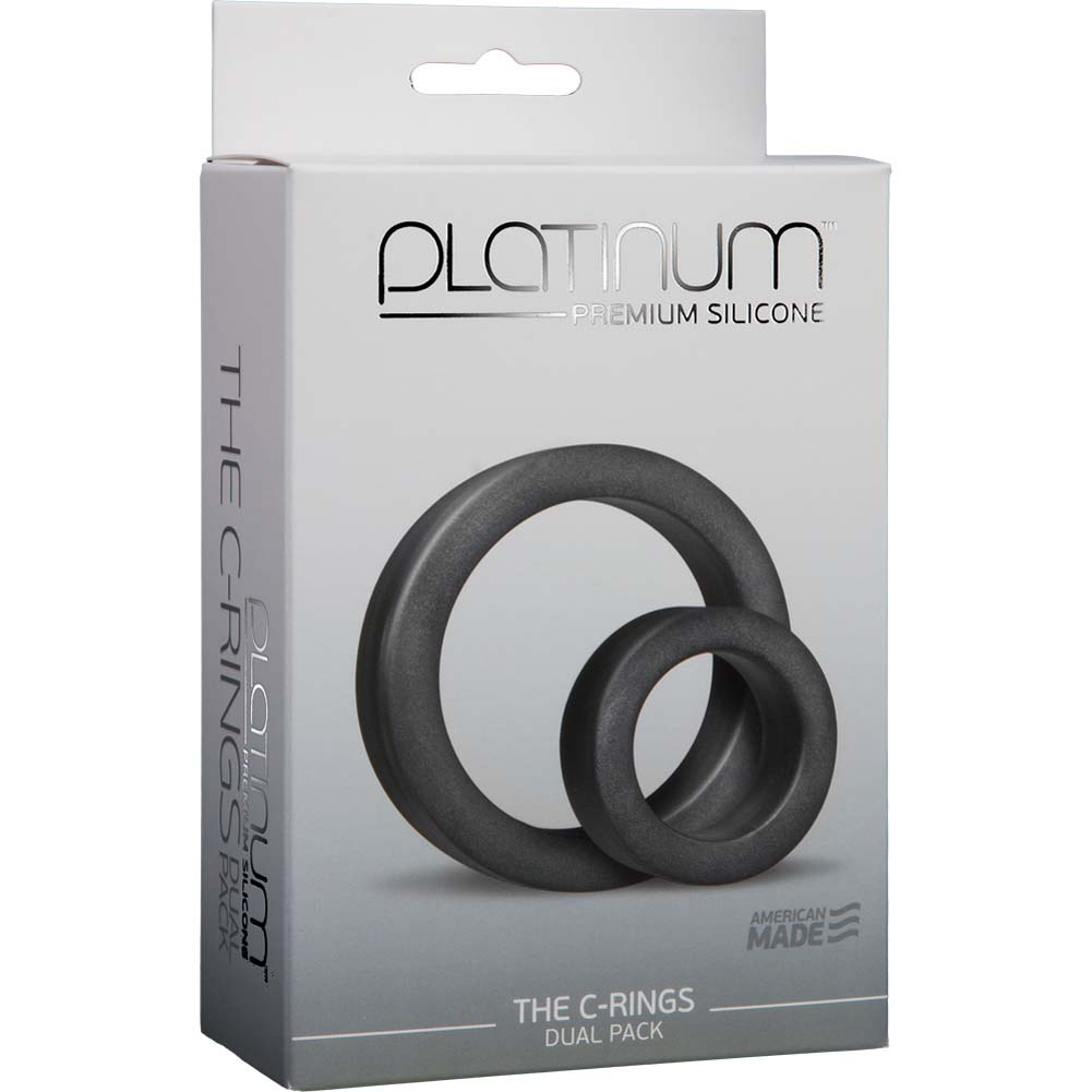 Doc Johnson Platinum Silicone C-Ring Double Pack Charcoal - View #1