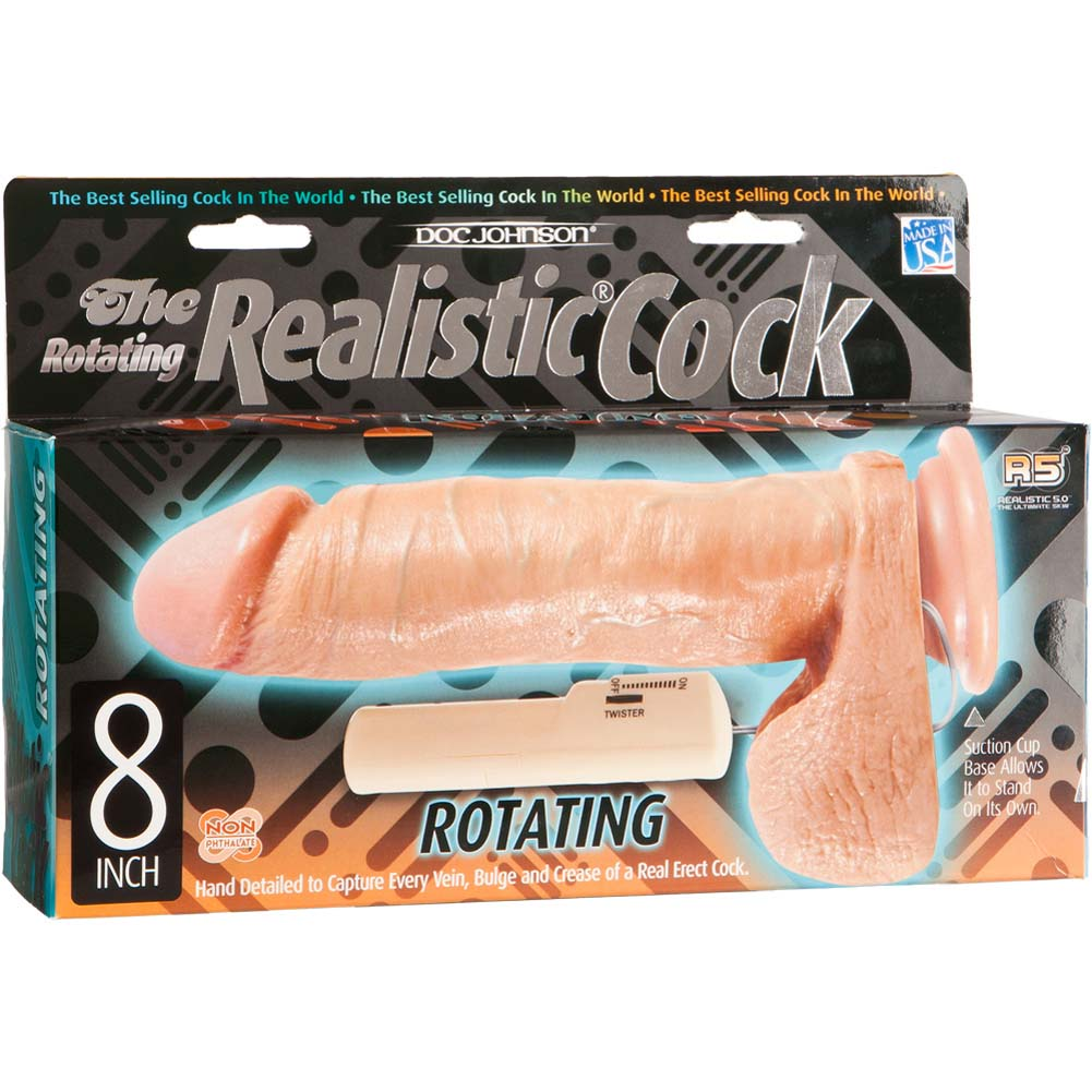 "Realistic Cock Rotating Squirmy Cock 8"" Natural Flesh - View #1"
