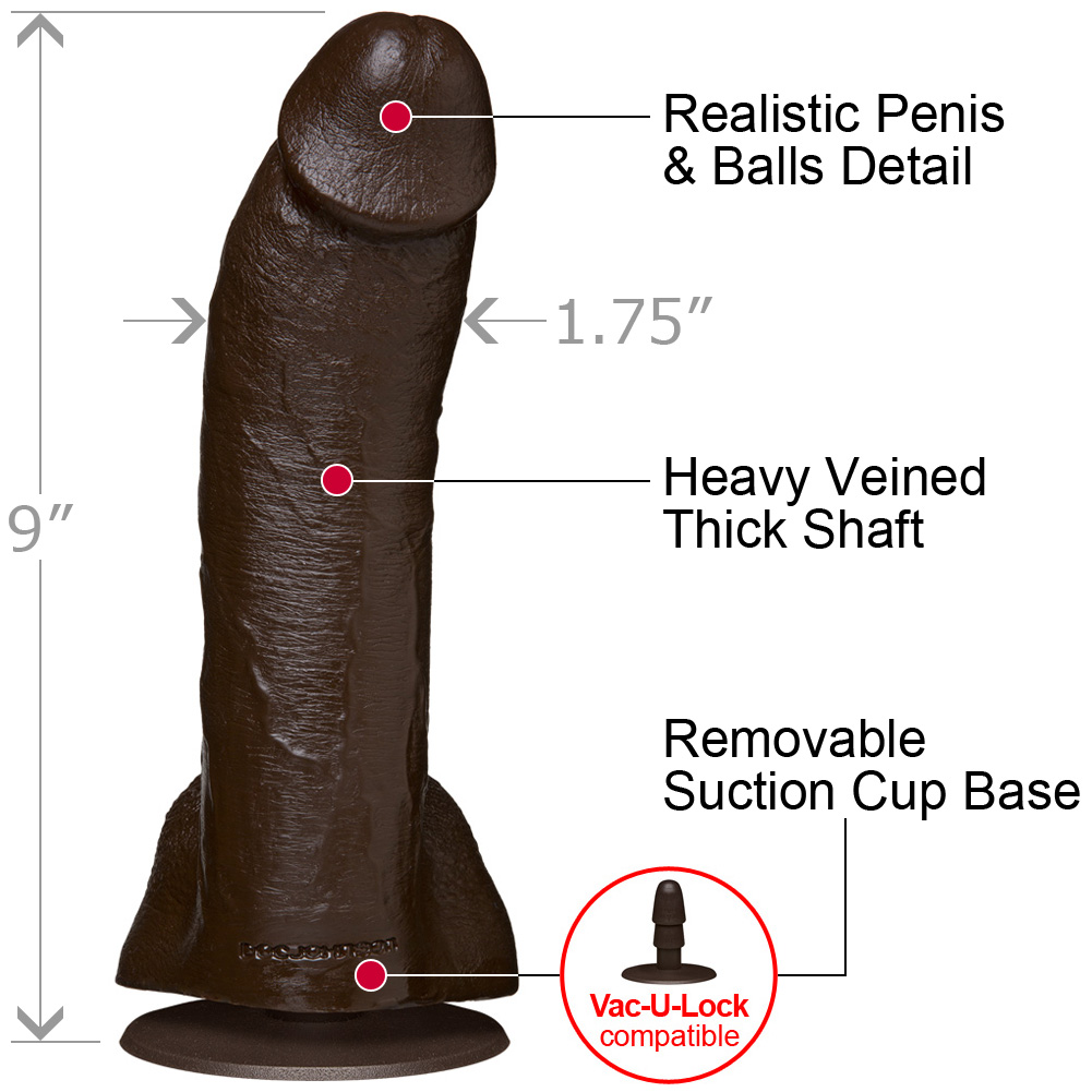 "Mr. Marcus R5 Cock and Balls Realistic Dildo 9"" Ebony - View #1"