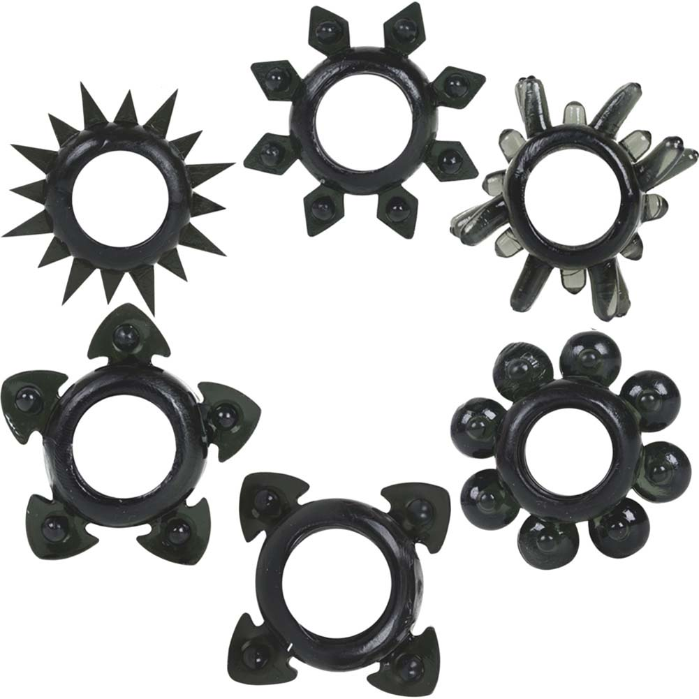 Doc Johnson Tower of Power 6 Cock Rings Black - View #2