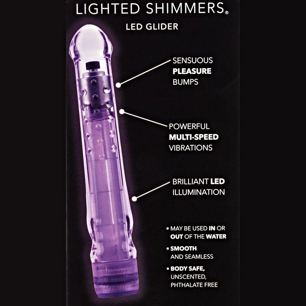 "California Exotics Lighted Shimmers LED Glider Personal Vibe 6.5"" Purple - View #1"