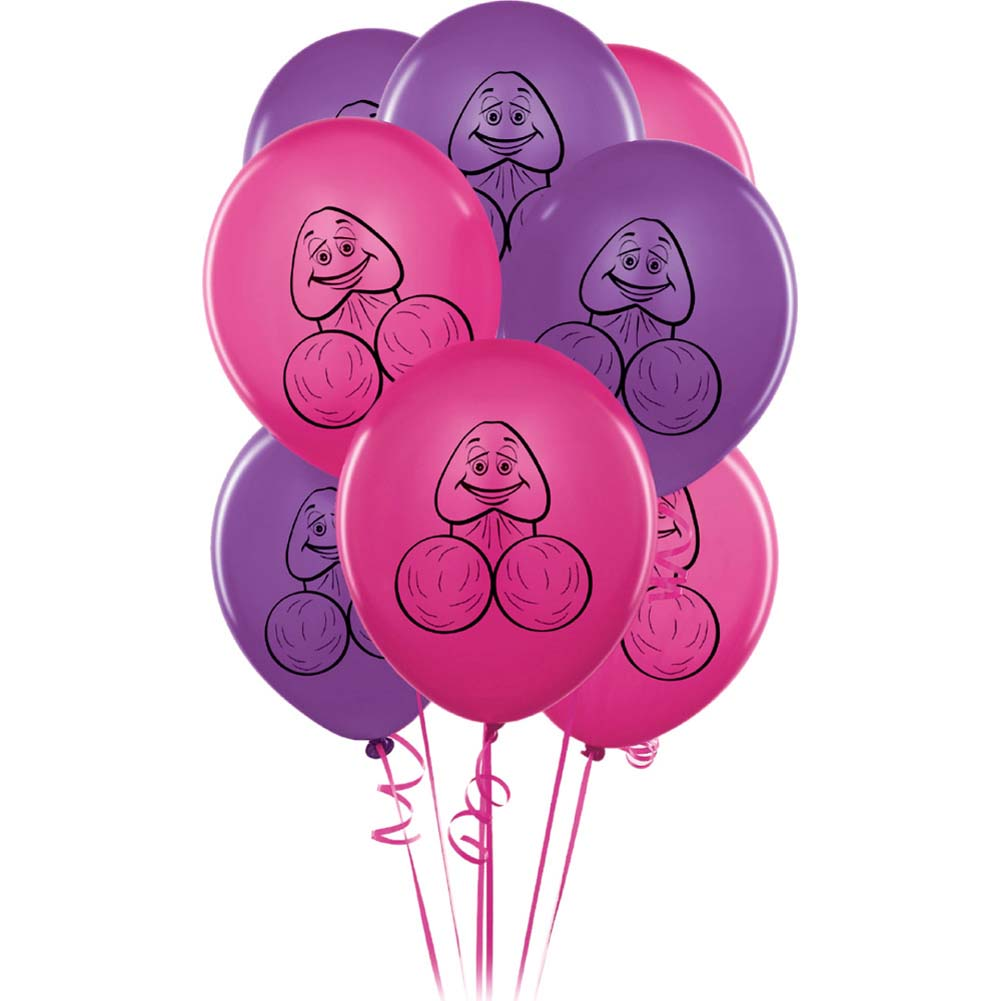Bachelorette Party Favors Pecker Balloons 8 Pieces Pink and Purple - View #2