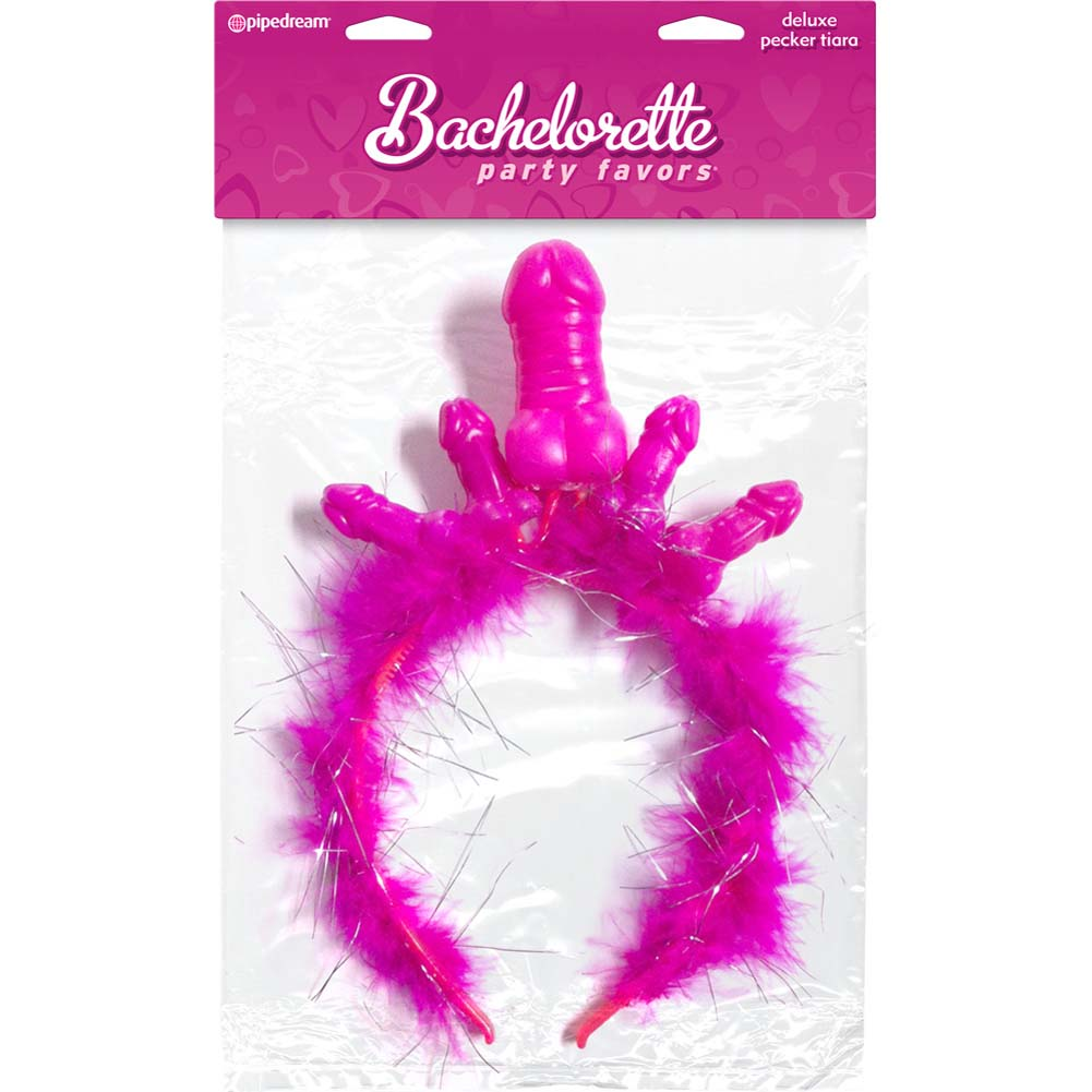 Bachelorette Party Favors Deluxe Pecker Tiara Pink - View #3