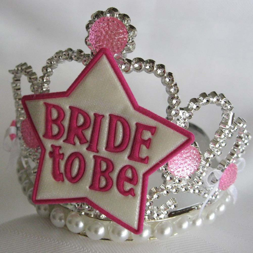 Bachelorette Party Bride To Be Star Tiara White and Pink - View #1