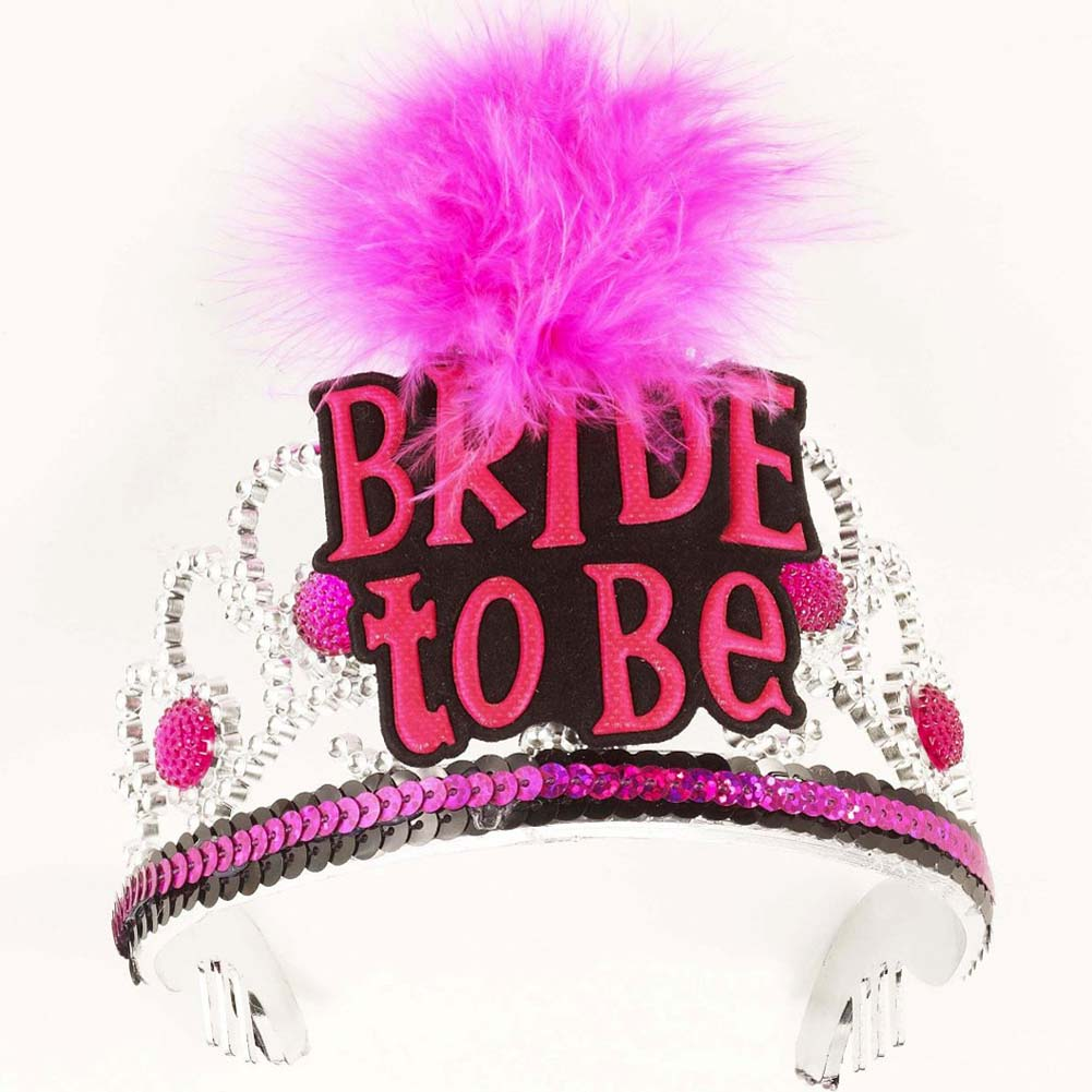 Bachelorette Party Bride To Be Tiara Black and Pink - View #1