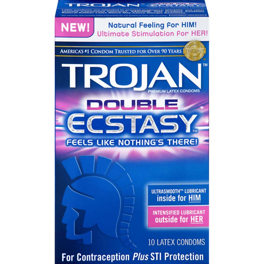 Trojan Double Ecstasy Latex Lubricated Condoms 10 Pack - View #1