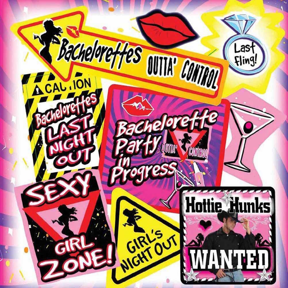 Bachelorette Party Wall Decoration Kit 9 Pieces - View #1