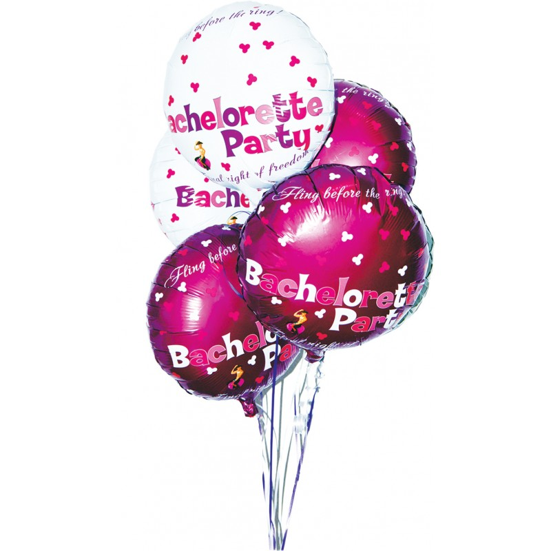 Bachelorette Party Foil Balloons Set 9 Pieces Assorted Colors - View #2