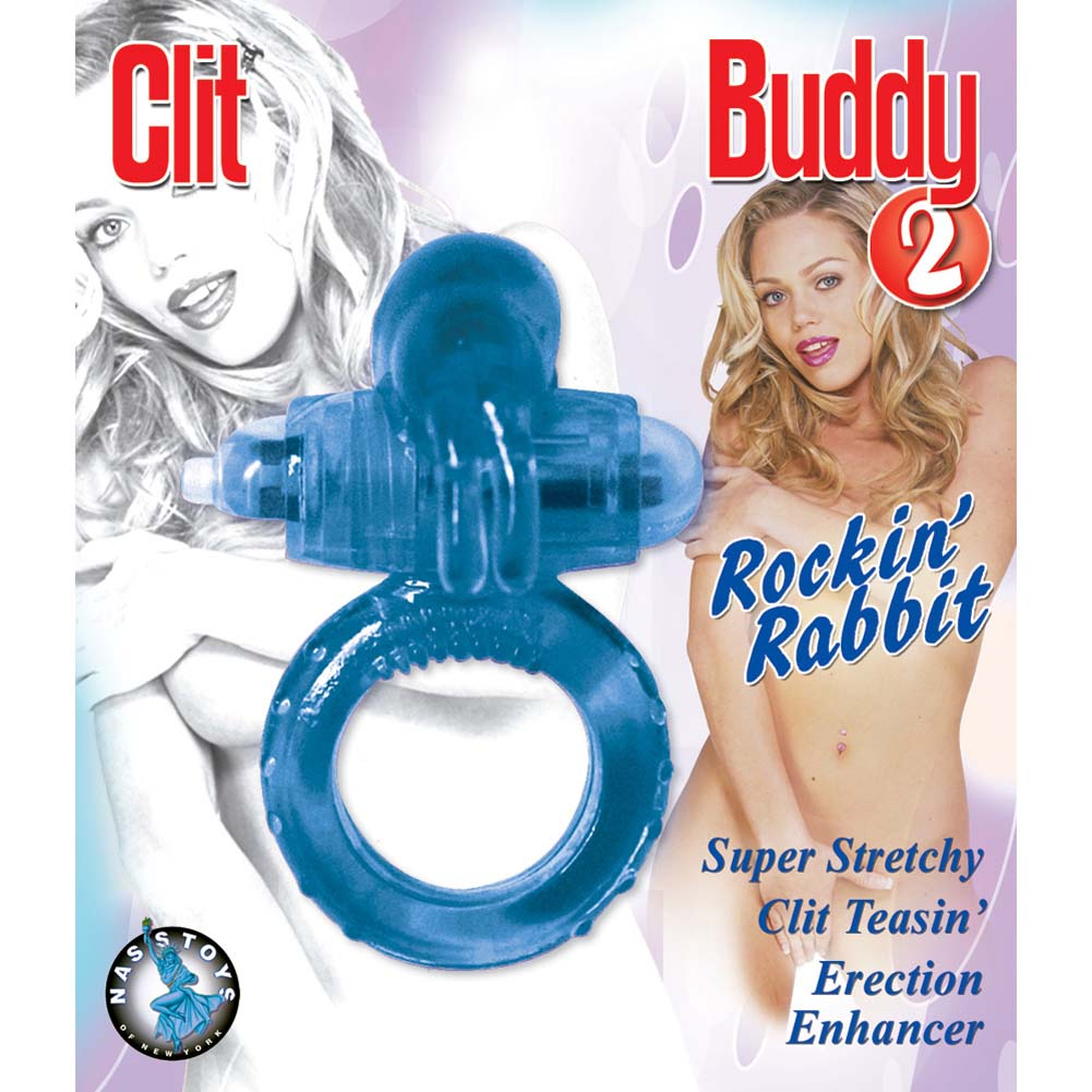 Clit Buddy 2 Rocky Rabbit Vibrating Cockring for Couples Blue - View #2