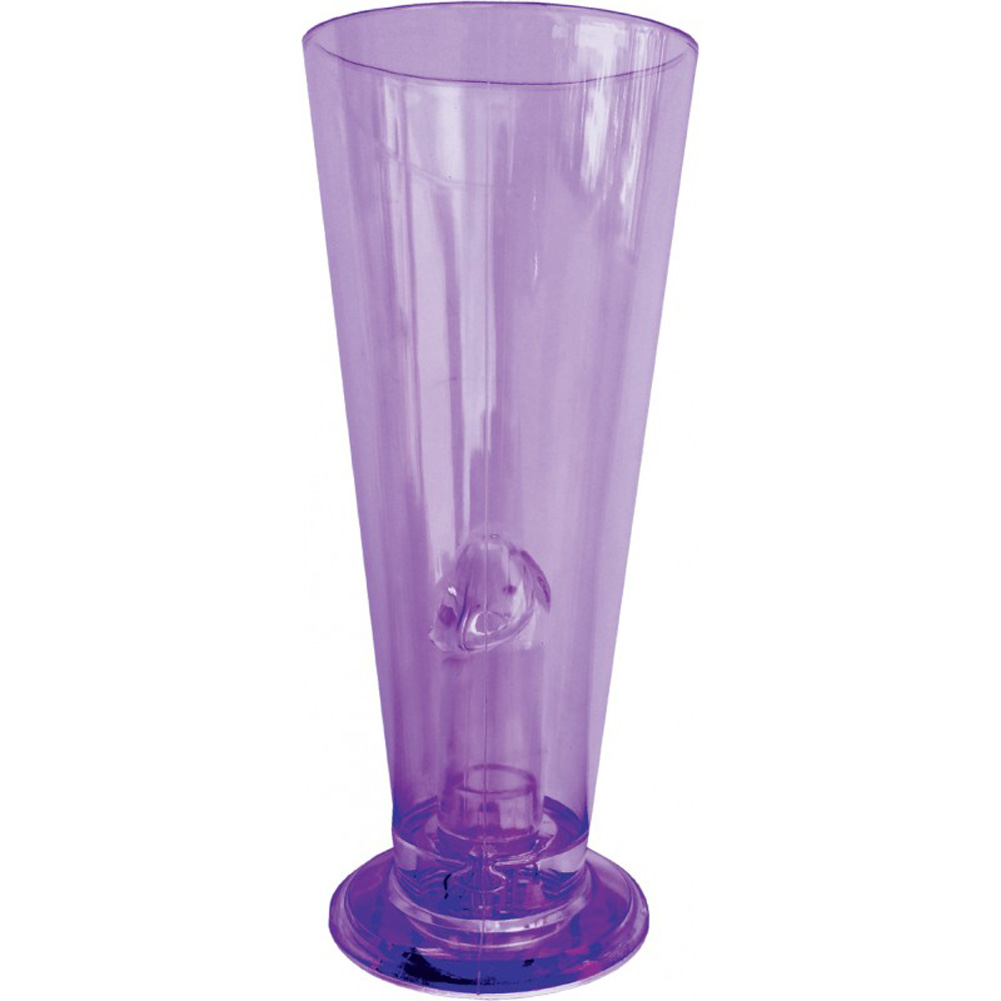 Party Pecker Light Up Beer Glass Purple - View #2