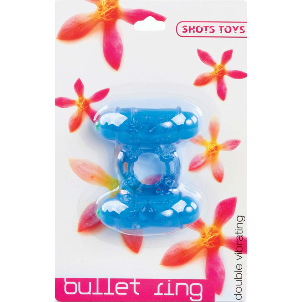 Shots Toys Double Vibrating Bullet Ring Blue - View #1