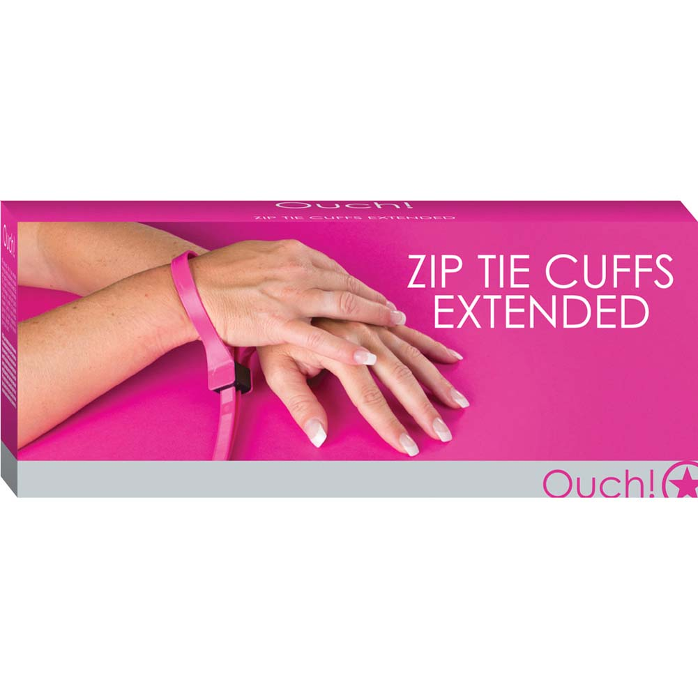 Ouch Zip Tie Cuffs Extended Pink - View #1