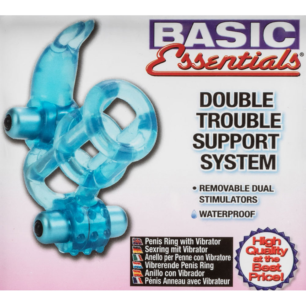 Basic Essentials Double Trouble Vibrating Support System Blue - View #1