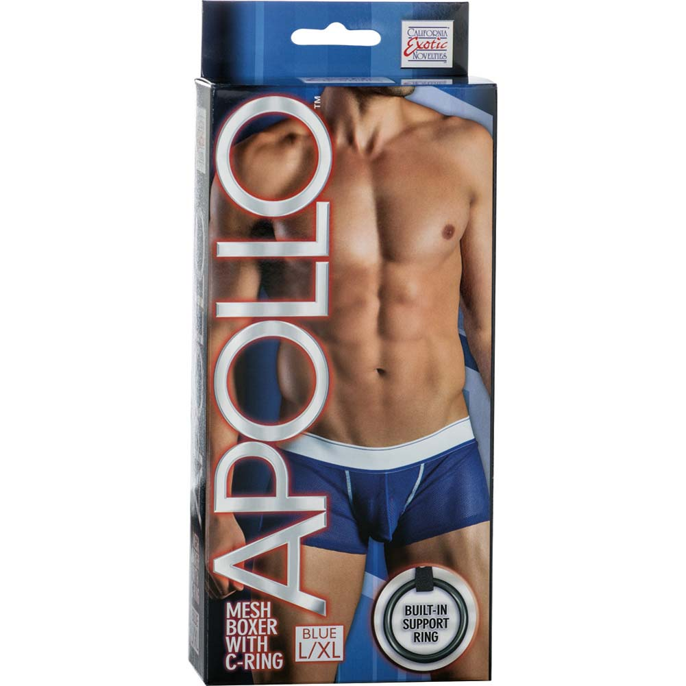 California Exotics Apollo Mesh Boxer with C-Ring Blue Large/Extra Large Size - View #1
