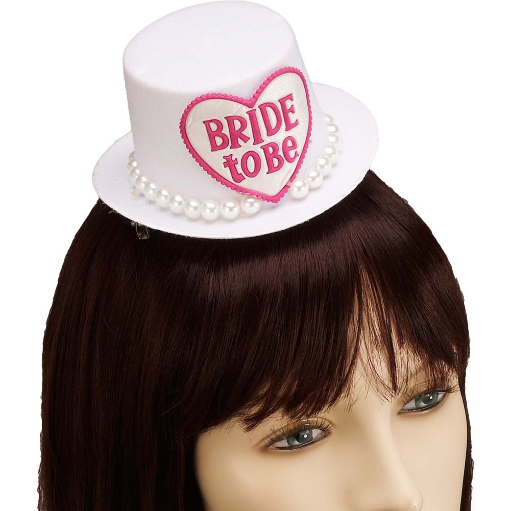 Bride To Be Mini Hat Hair Clip White - View #1