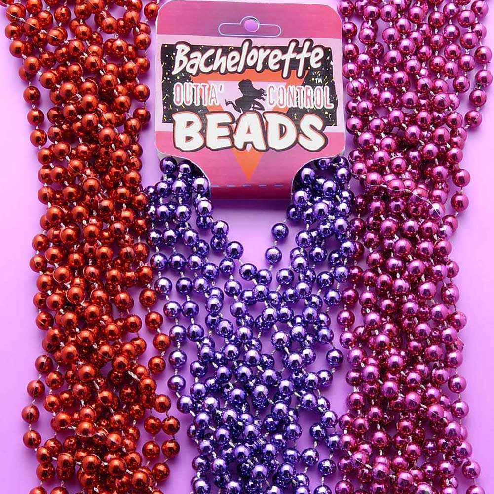Bachelorette Outta Control Beads Pack of 6 Purple Metallic - View #2