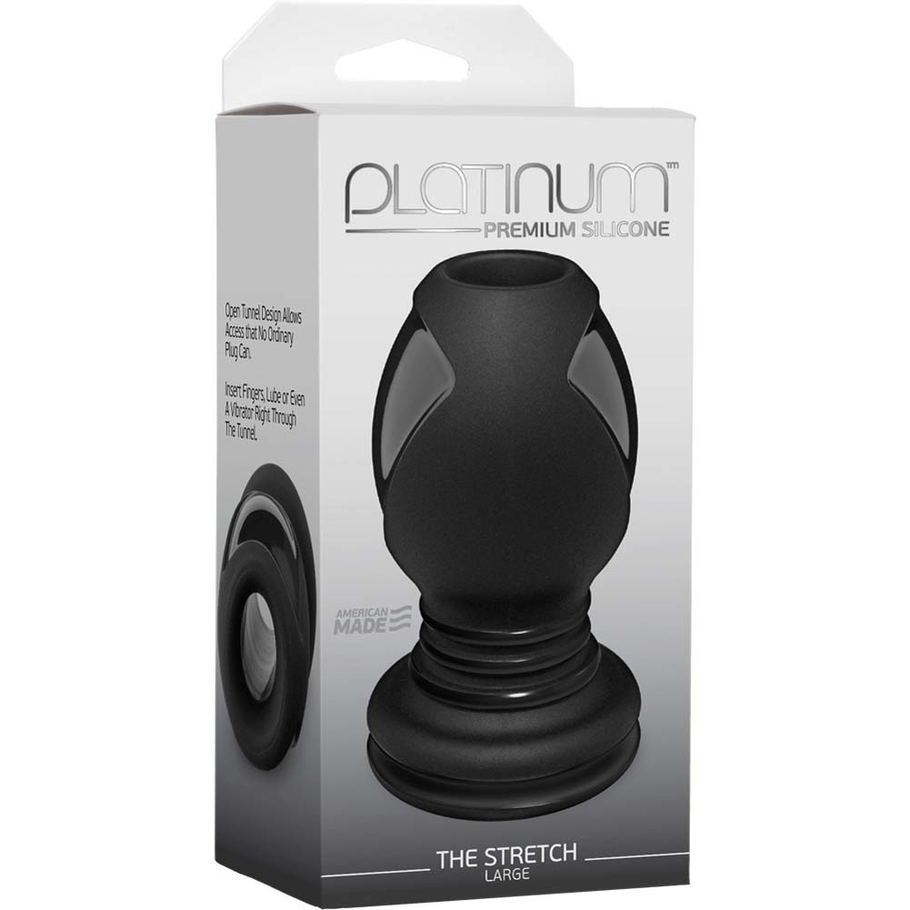 "Platinum Premium Silicone Stretch Large Butt Plug 4.5"" Black - View #1"