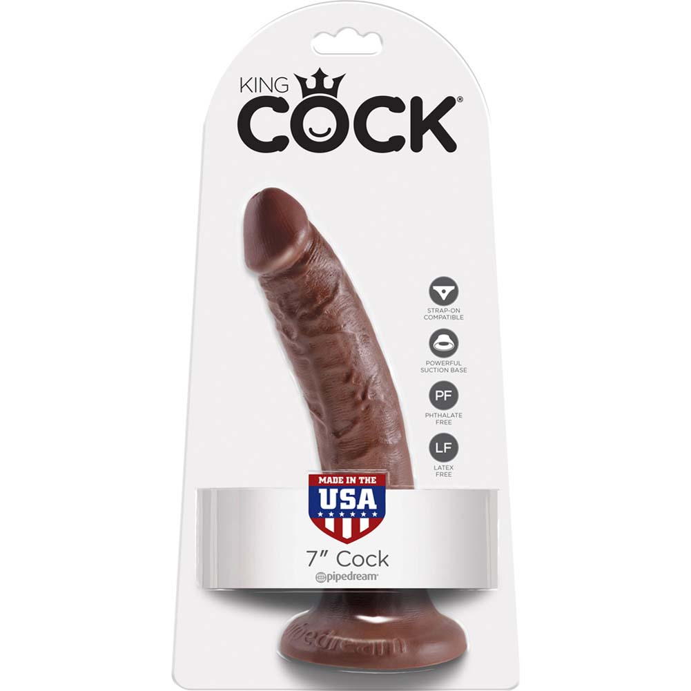 """King Cock Tapered Realistic Dong with Suction Cup 7"""" Brown - View #1"""