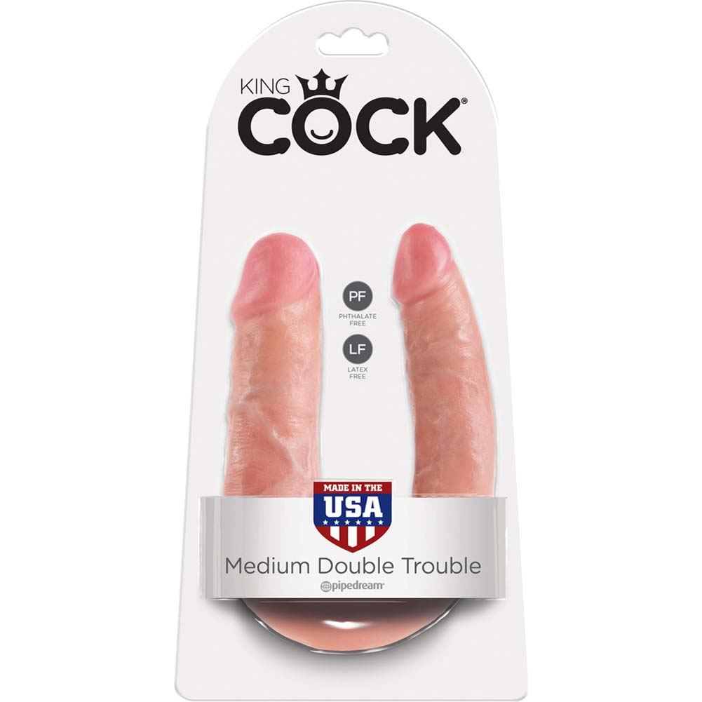 King Cock U-Shaped Medium Double Trouble Dildo Flesh - View #1