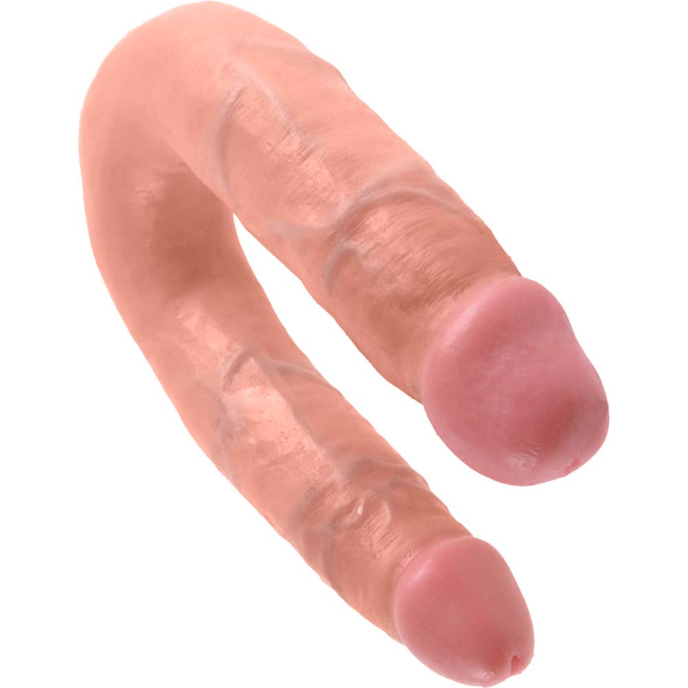 King Cock U-Shaped Medium Double Trouble Dildo Flesh - View #3