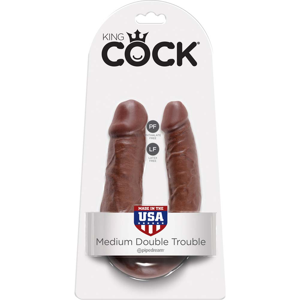 King Cock U-Shaped Medium Double Trouble Dildo Brown - View #1