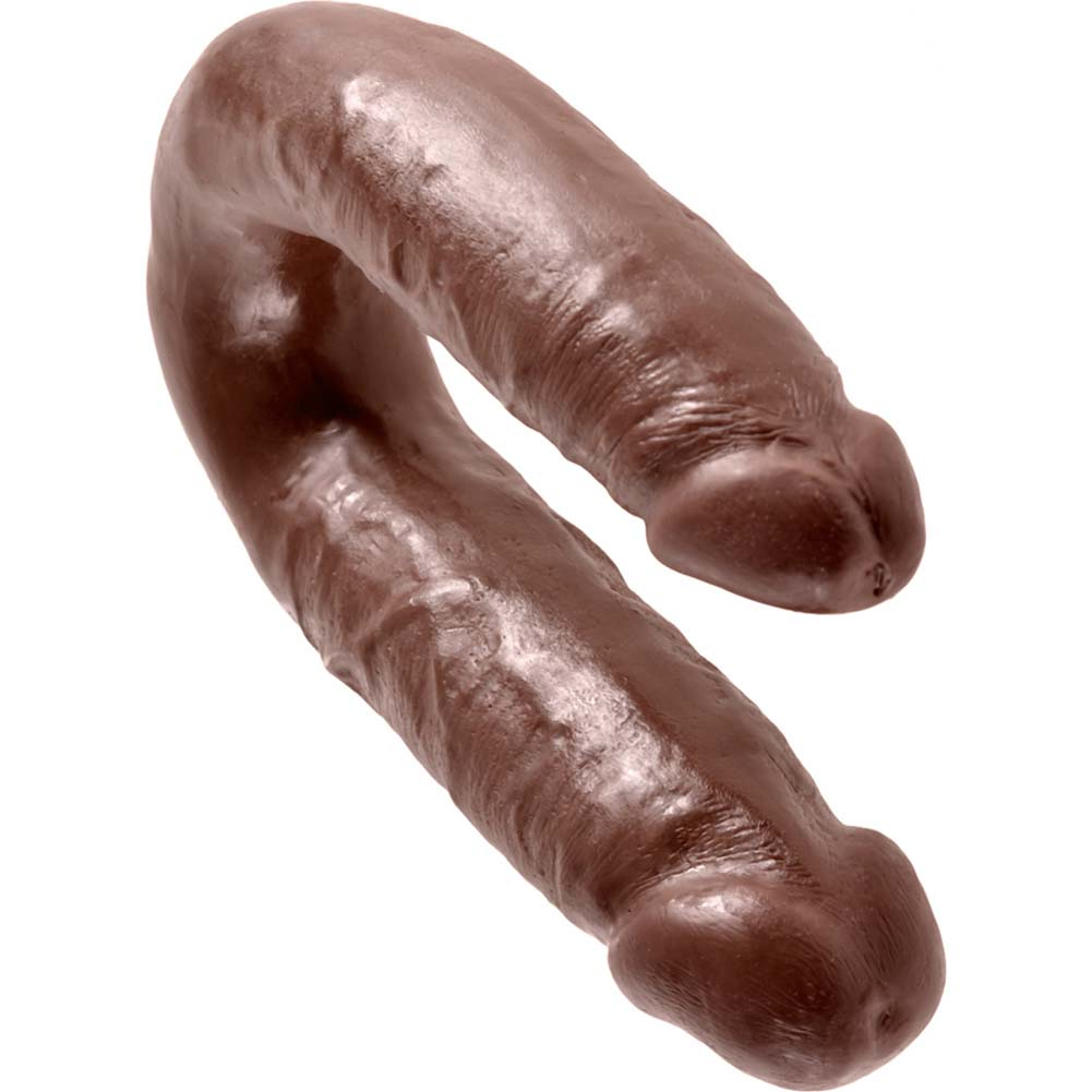King Cock U-Shaped Medium Double Trouble Dildo Brown - View #3