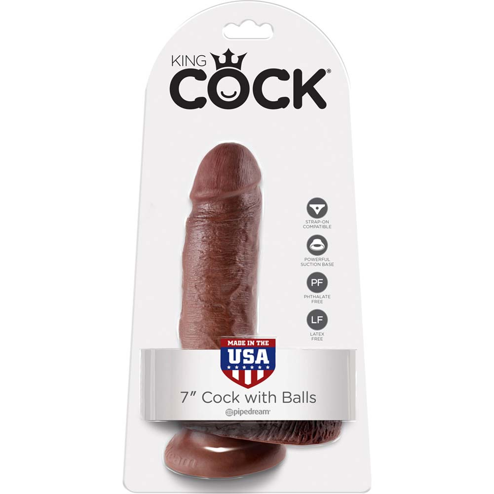 "King Cock 7"" Cock with Balls Brown - View #1"