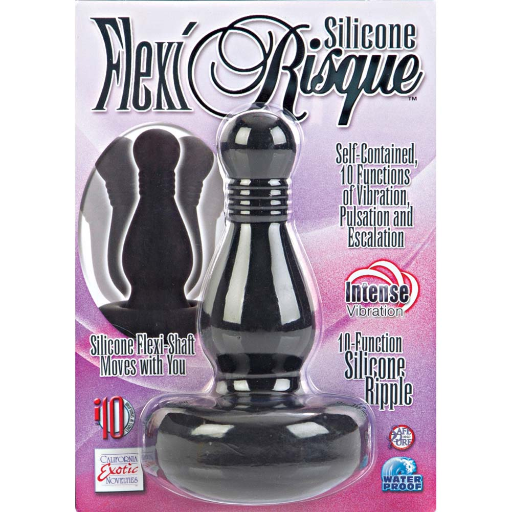 "10 Function Flexi Risque Silicone Ripple Vibrating Butt Plug 5"" Black - View #1"