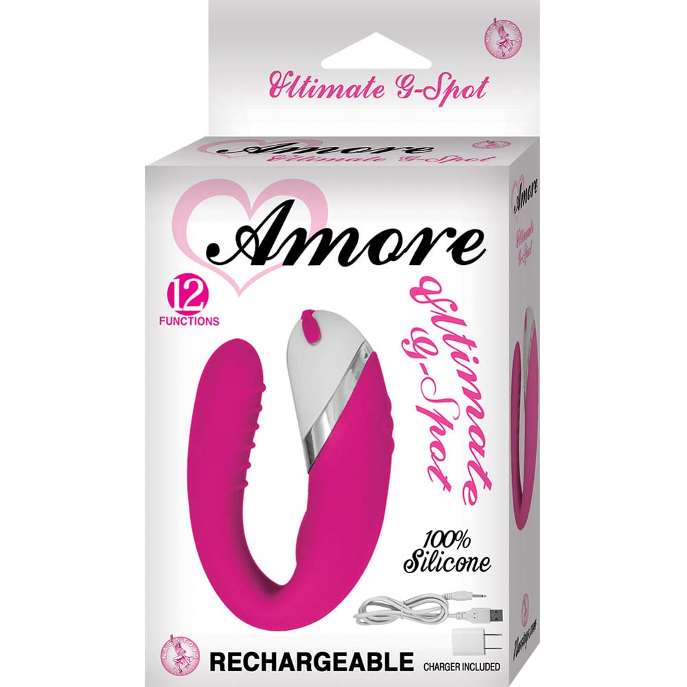 "Amore Ultimate G-Spot Silicone USB Rechargeable Vibrator 4"" Pink - View #1"