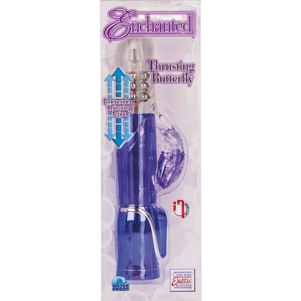 """Enchanted Thrusting Butterfly Female Vibrator 10.5"""" Purple - View #1"""