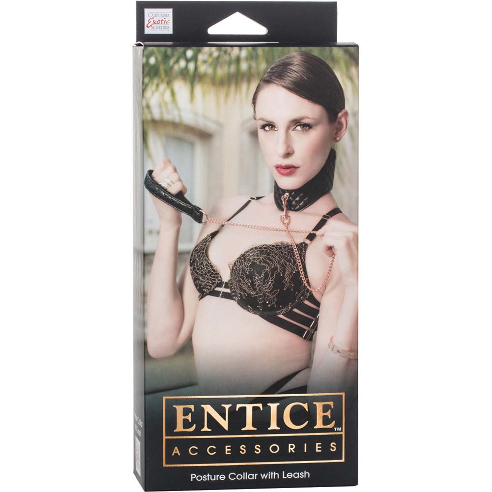 California Exotics Entice Posture Collar with Leash Black - View #1