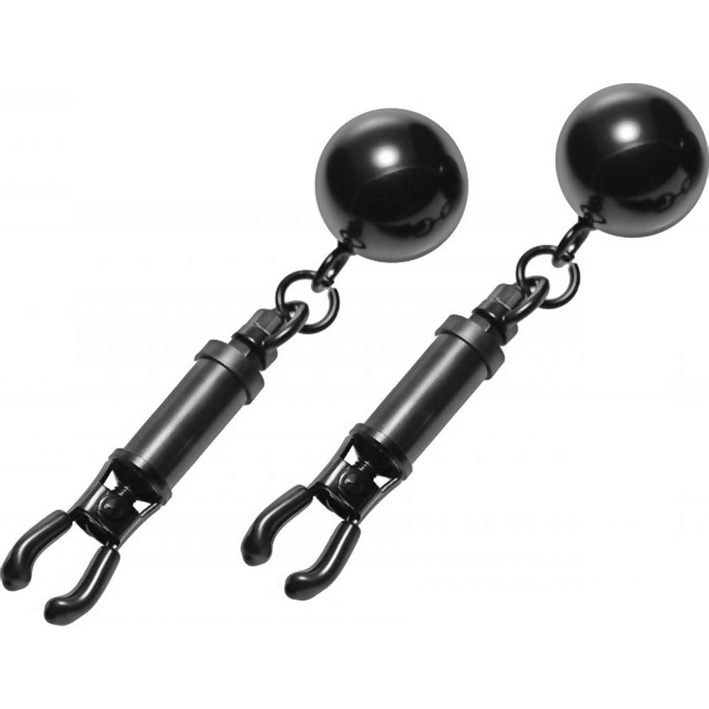 Master Series Black Bomber Nipple Clamps with Ball Weights Black - View #2