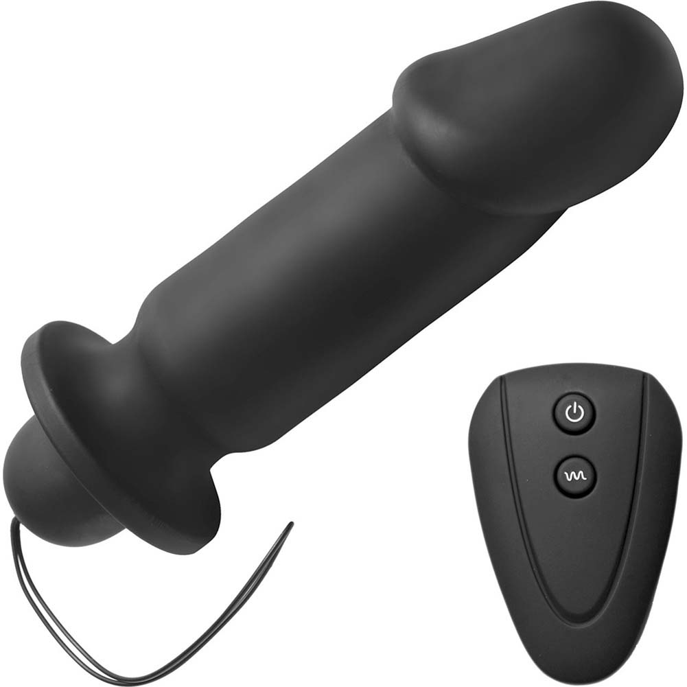 "Master Series Cock Control 10 Mode Remote Silicone Plug 8"" Black - View #2"