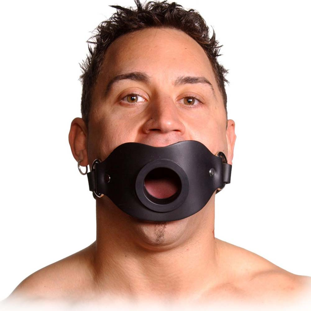 Master Series Strict Leather Locking Open Mouth Gag Black - View #1