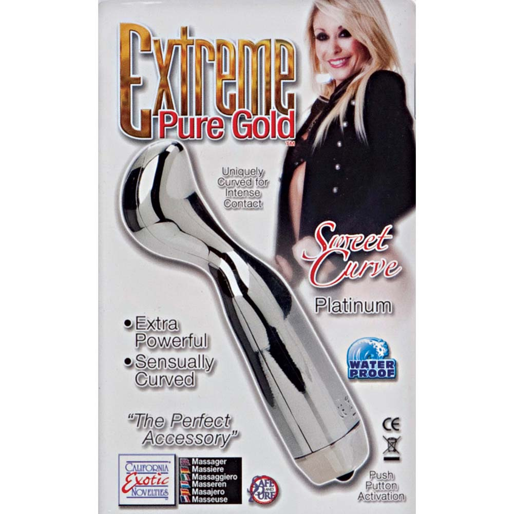 "Extreme Pure Gold Sweet Curve Vibrating Massager 4.5"" Platinum - View #1"