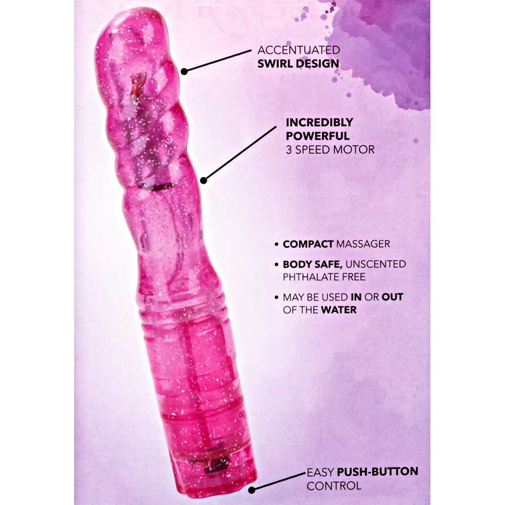 "California Exotics Sparkle Softees Waterproof Swirl Intimate Vibrator 6"" Pink - View #1"