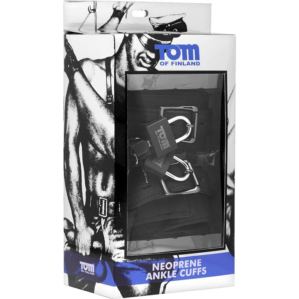 Tom of Finland Neoprene Ankle Cuffs Black - View #1