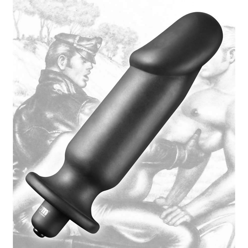 "Tom of Finland Medium Silicone Vibrating Anal Plug 6"" Black - View #2"