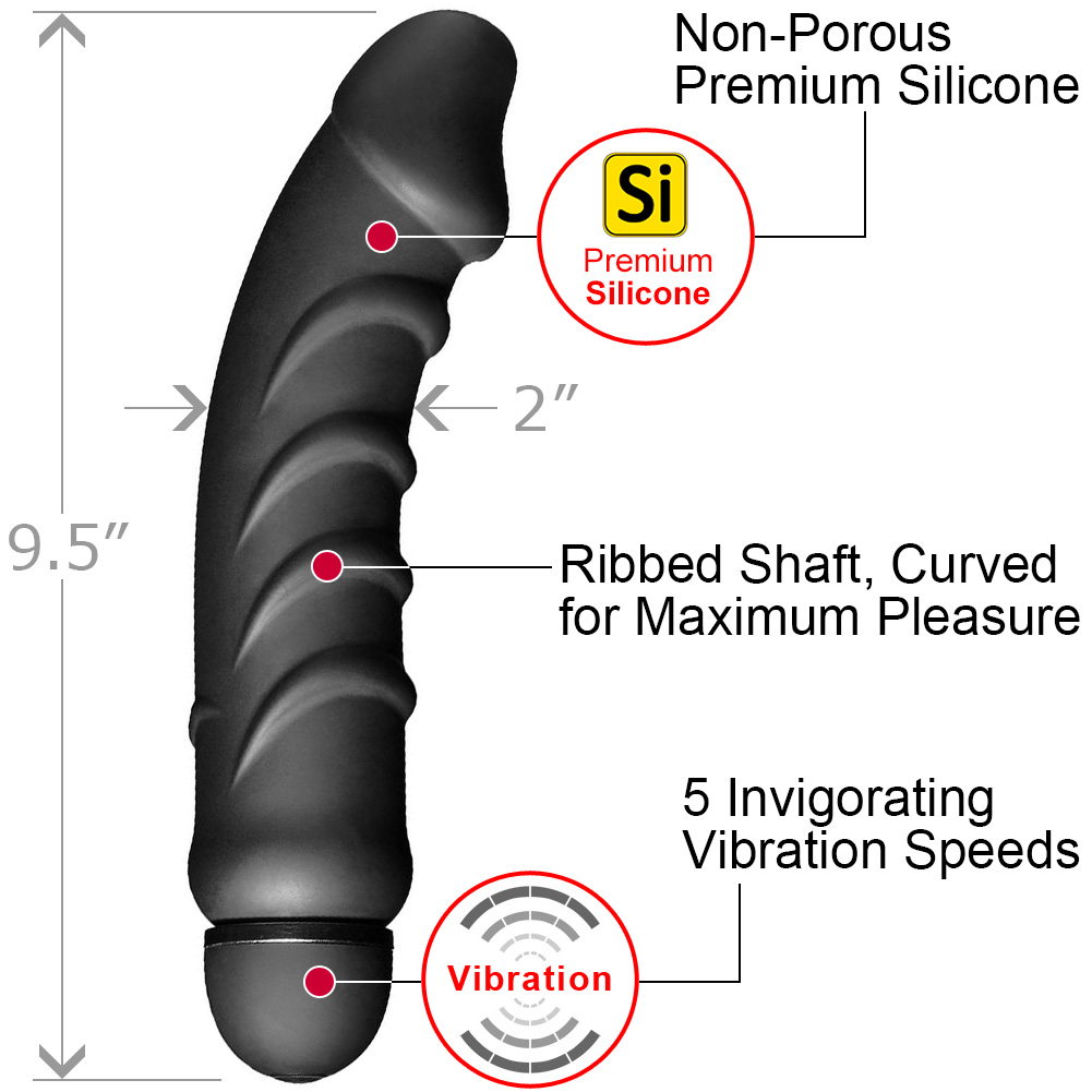 """Tom of Finland 5 Speed Silicone Vibrator 9.5"""" Black - View #1"""