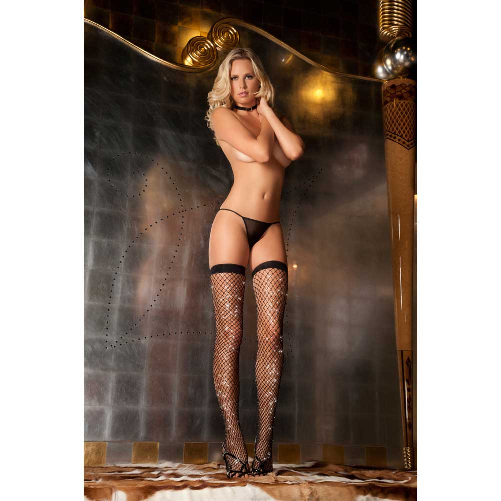 Sparkle Diamond Net Thigh High One Size Black - View #3