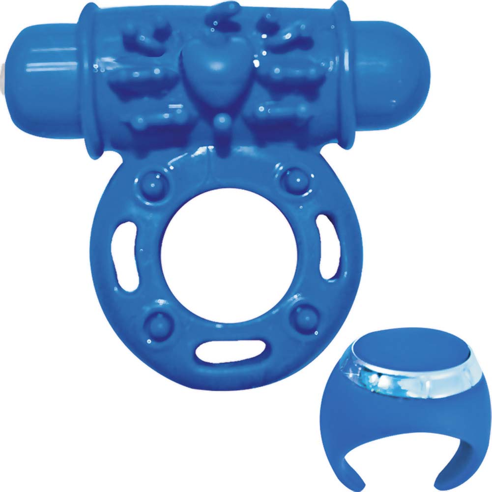 Macho Pulsating Remote Control Ring Blue - View #2