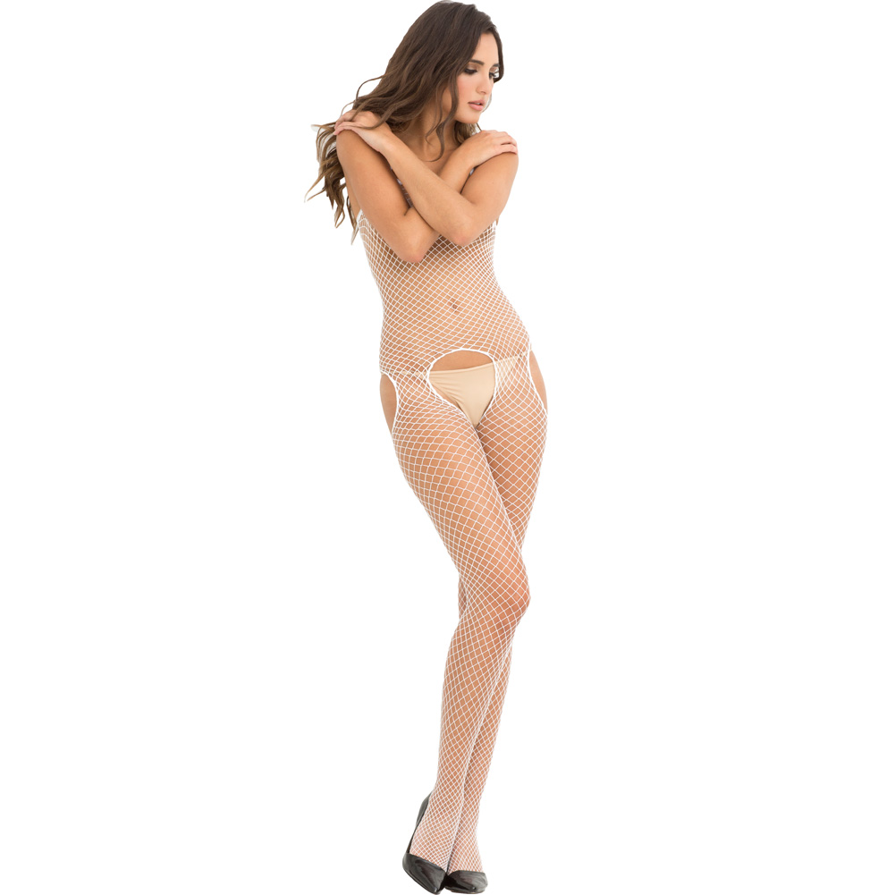 Tank and Suspender Industrial Net Bodystocking One Size White - View #1