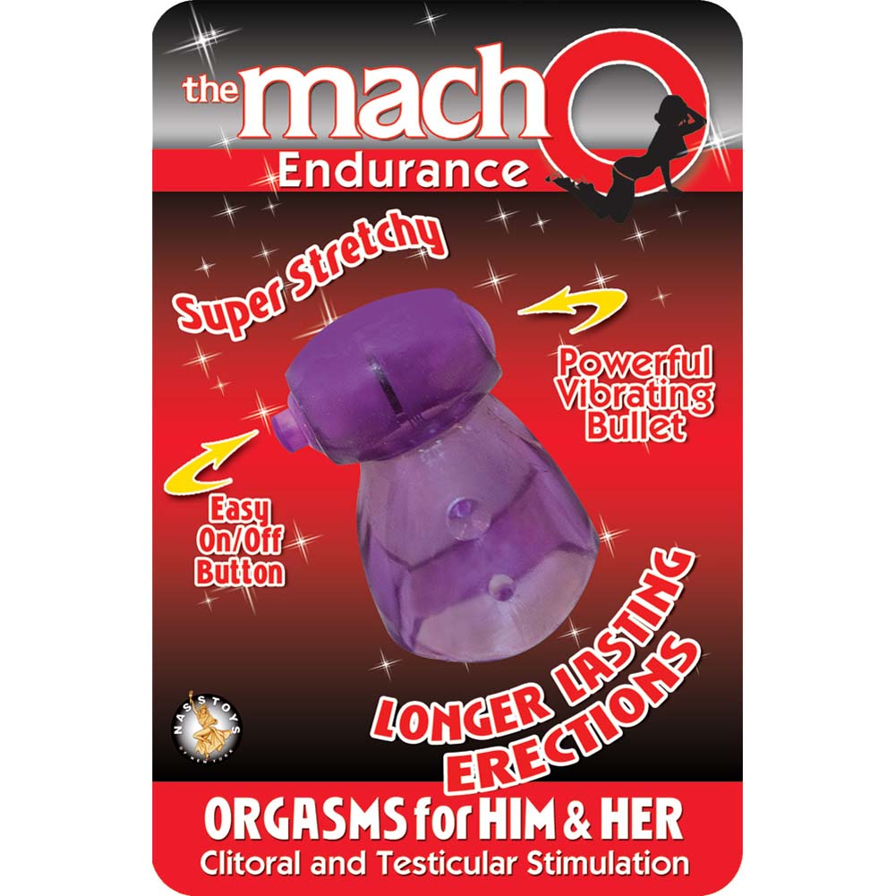 Macho Endurance Vibrating Cockring Purple - View #1