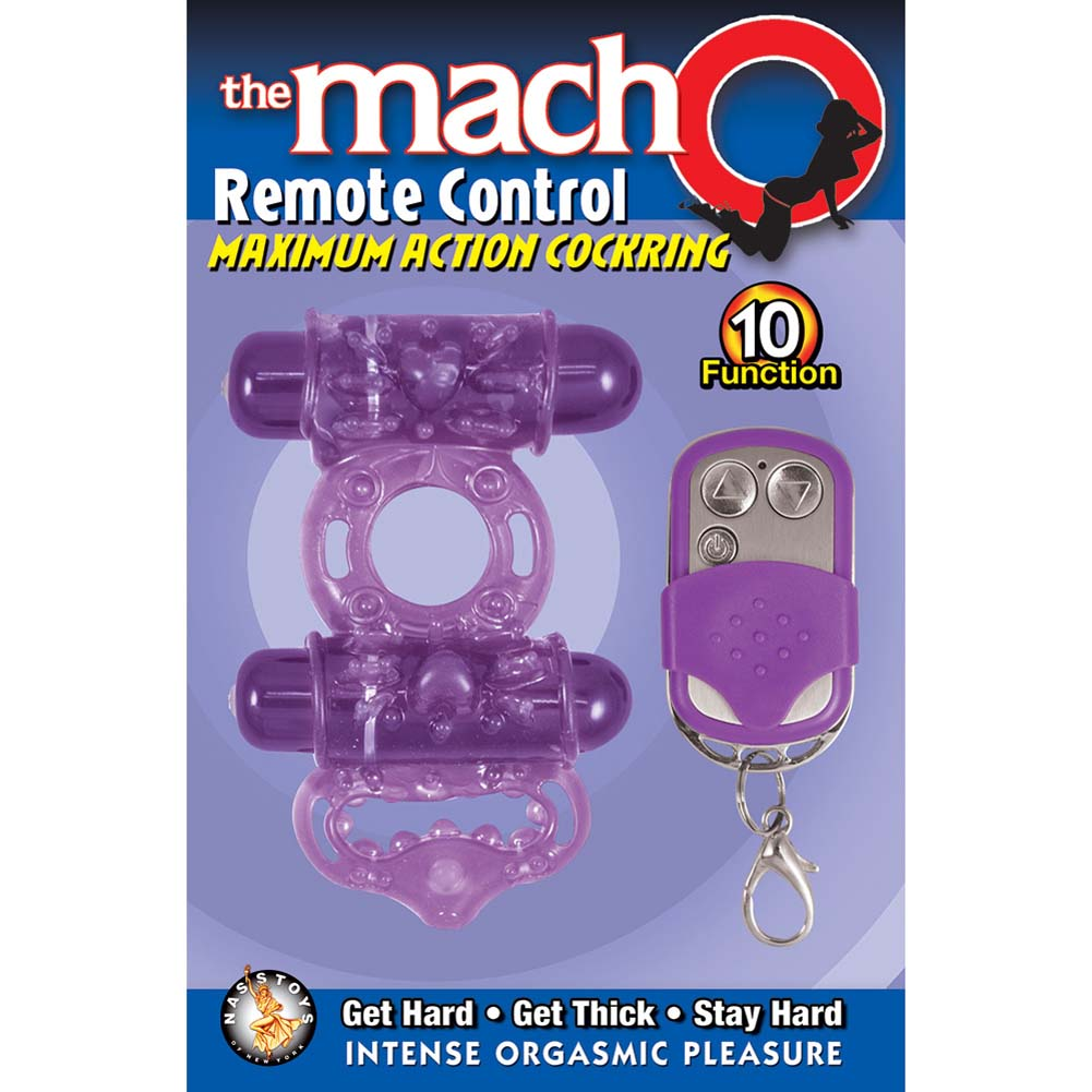 Macho Remote Control Maximum Action Dual Stimulating Cockring Purple - View #1