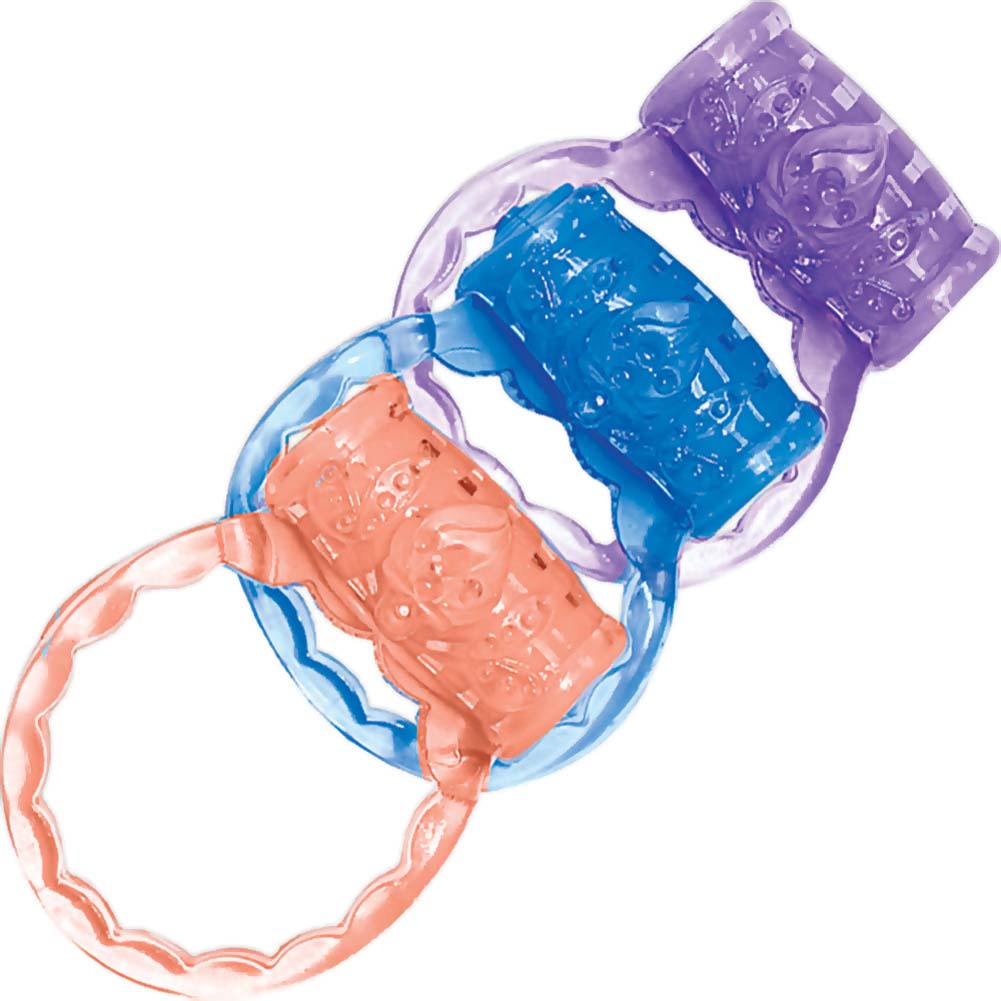 Macho Three Vibrating Ring Set Assorted Colors - View #2