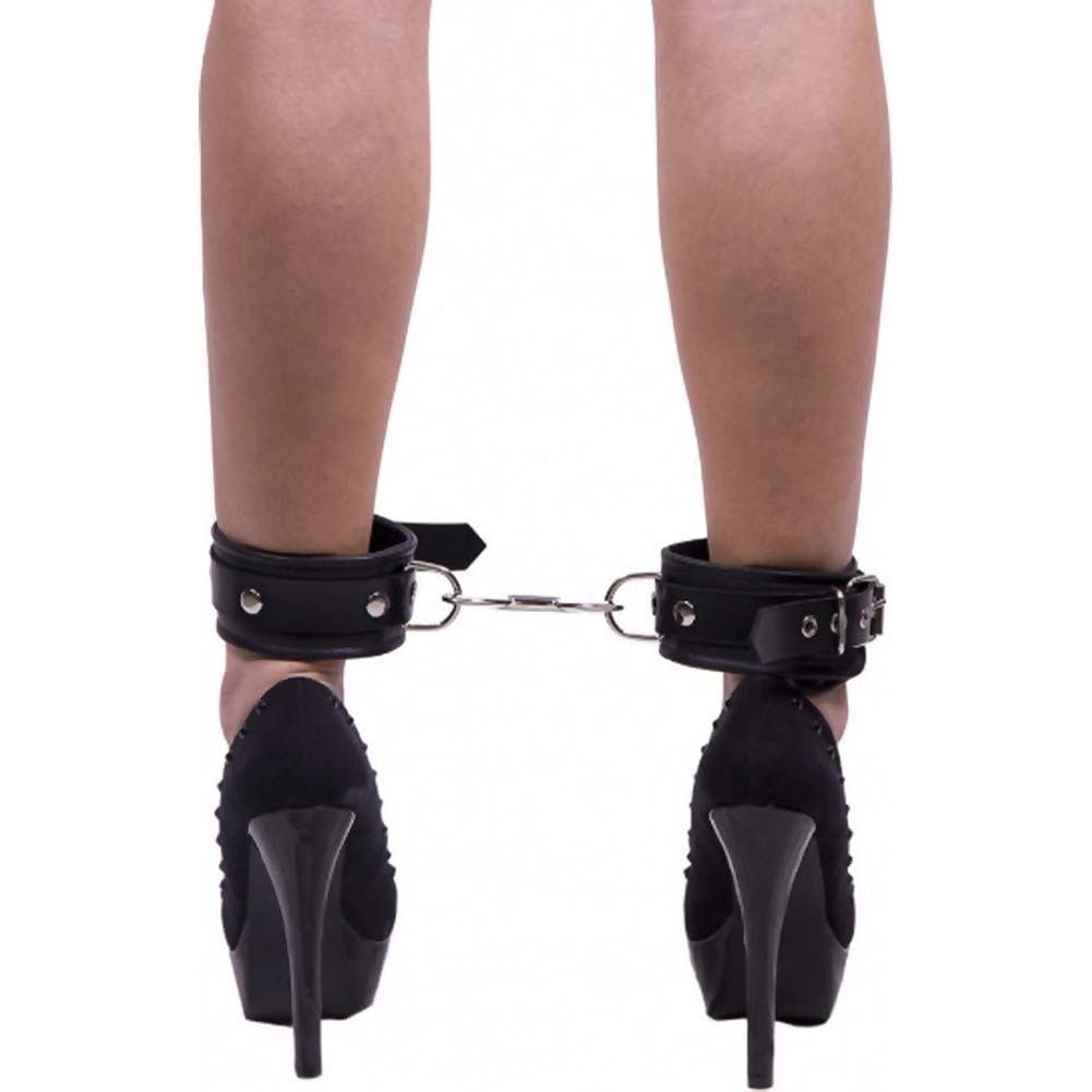 Rouge Padded Leather Ankle Cuffs Black - View #4